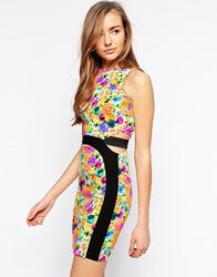 Lashes Of London Neon Floral Dress Blackfloral