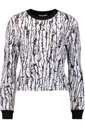 Carven Cropped Printed Stretch Neoprene Sweatshirt White