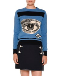 Stella Mccartney Eye Intarsia Crewneck Sweater Blue