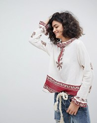 Intropia Ruffle Collar Embroidered Blouse Cream