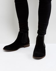 New Look Classic Faux Suede Chelsea Boot In Black Black