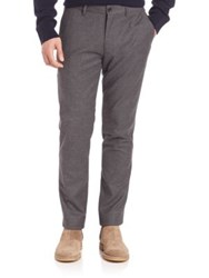 Vince Wool Flannel Slim Trousers Dark Grey