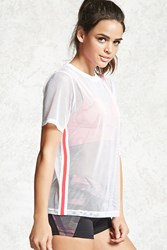 Forever 21 Active Sheer Mesh Top White Coral