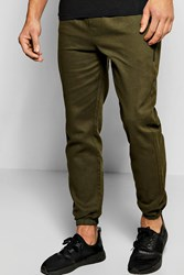 Boohoo Cotton Twill Skinny Chinos With Cuff Hem Khaki