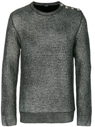 Balmain Metallic Grey Ribbed Sweater Virgin Wool L