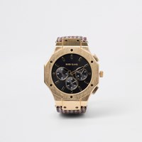River Island Brown Gold Tone Check Watch