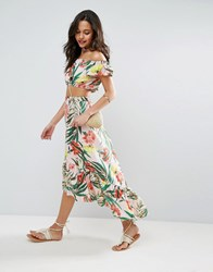 Asos Palm Print Skirt With Ruffle Pink Green Multi