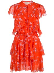 Nicholas Floral Print Ruffle Mini Dress Orange