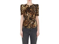 Isabel Marant Women's Udell Leopard Print Peplum Top Brown