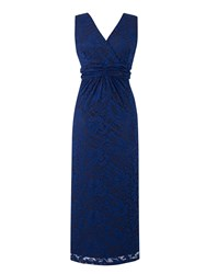 Grace Made In Britain Lace Maxi Dress Navy