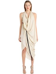 Michael Sontag Draped Silk Satin Dress