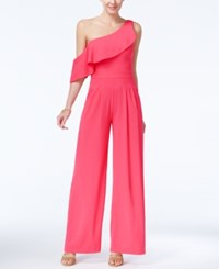 Xoxo Juniors' Ruffled One Shoulder Jumpsuit Pink