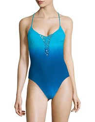 Nanette Lepore Ombre One Piece Swimsuit Blue