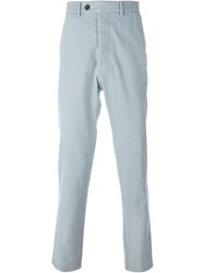 Officine Generale Striped Trousers White