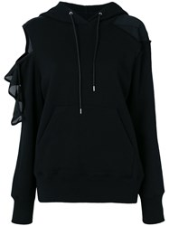 Sacai Deconstructed Cold Shoulder Hoodie Black