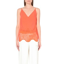 Karen Millen Laser Cut Sleeveless Crepe Top Coral