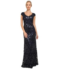 Adrianna Papell Sequin Lace Cap Sleeve Gown Navy Women's Dress