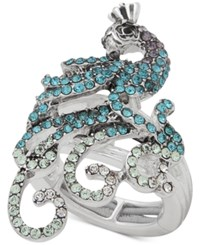 Anne Klein Silver Tone Pave Peacock Stretch Ring