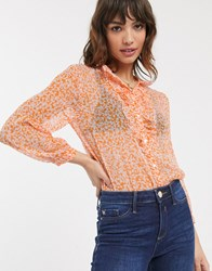 French Connection Ruffle Neck Ditsy Floral Print Blouse Orange