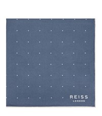Reiss Planet Mens Silk Twill Pocket Square In Blue