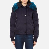 Kenzo Women's Removable Navy Fur Lined Short Parka Midnight Navy
