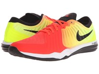 Nike Dual Fusion Tr 4 Print Bright Crimson Volt Laser Orange Black Women's Cross Training Shoes