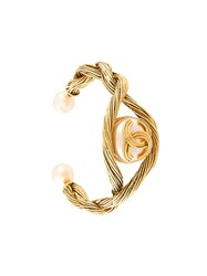 Chanel Vintage Faux Pearl Cuff Metallic