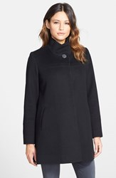 Fleurette Women's Wool Stand Collar Car Coat Black