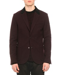 Lanvin Corduroy Collar Snap Front Jacket Wine