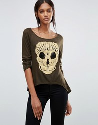 Jasmine T Shirt With Embroidered Skull Army Green Navy