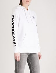 Chocoolate Printed Cotton Jersey Hoody White