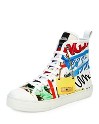 Moschino Graffiti Lace Up High Top Sneaker White Multi Women's