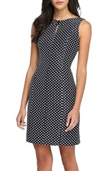 Petite Women's Tahari Polka Dot Jacquard Sheath Dress