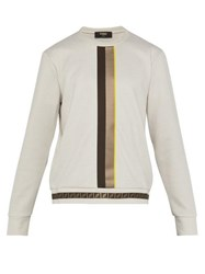 Fendi Front Stripe Logo Printed Jersey Sweatshirt Light Grey
