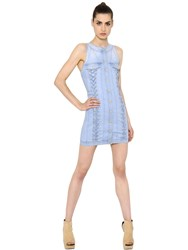 Balmain Lace Up Cotton Denim Dress