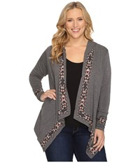 Stetson Plus Size Heather Charcoal Rayon Cardigan Grey Women's Sweater Gray