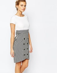 Closet 2 In 1 Pencil Dress With Stripe Buttoned Skirt Multi