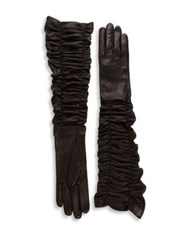 Alexander Mcqueen Ruched Long Leather Gloves Black