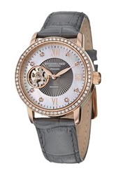 Stuhrling Women's Memoire Diamond Automatic Leather Strap Watch Metallic