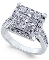 Macy's Diamond Square Cluster Engagement Ring 2 1 2 Ct. T.W. In 14K White Gold