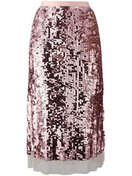 Tory Burch Sequinned A Line Skirt Pink Purple