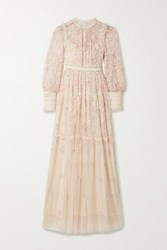 Needle And Thread Whitethorn Sequined Embroidered Tulle Gown Cream