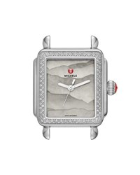 Michele 18Mm Deco Diamond Watch Head With Gray Dial Silver