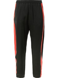 Ilaria Nistri Contrast Side Stripe Cropped Trousers Women Polyester Viscose 42 Black