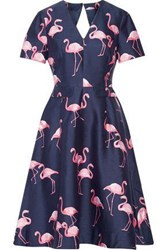 Draper James Cutout Printed Silk And Cotton Blend Dress Navy
