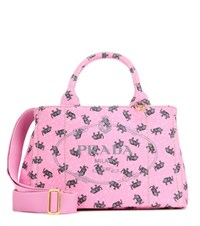 Prada Printed Cotton Canvas Tote Pink