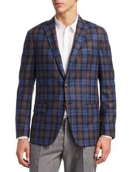 Saks Fifth Avenue Collection Plaid Jacket Brown Blue