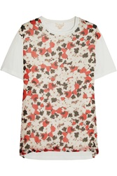 Giambattista Valli Printed Silk Chiffon And Cotton Jersey T Shirt