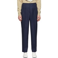Maison Kitsune Navy Melange Pleated Trousers
