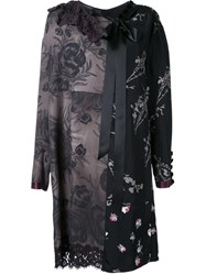 Marc Jacobs Floral Patchwork Shift Dress Black
